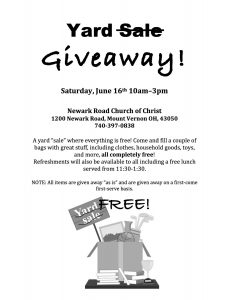 Yard Giveaway @ Newark Road Church of Christ | Mount Vernon | Ohio | United States